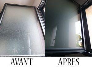 Nettoyage de vitrerie avant et après